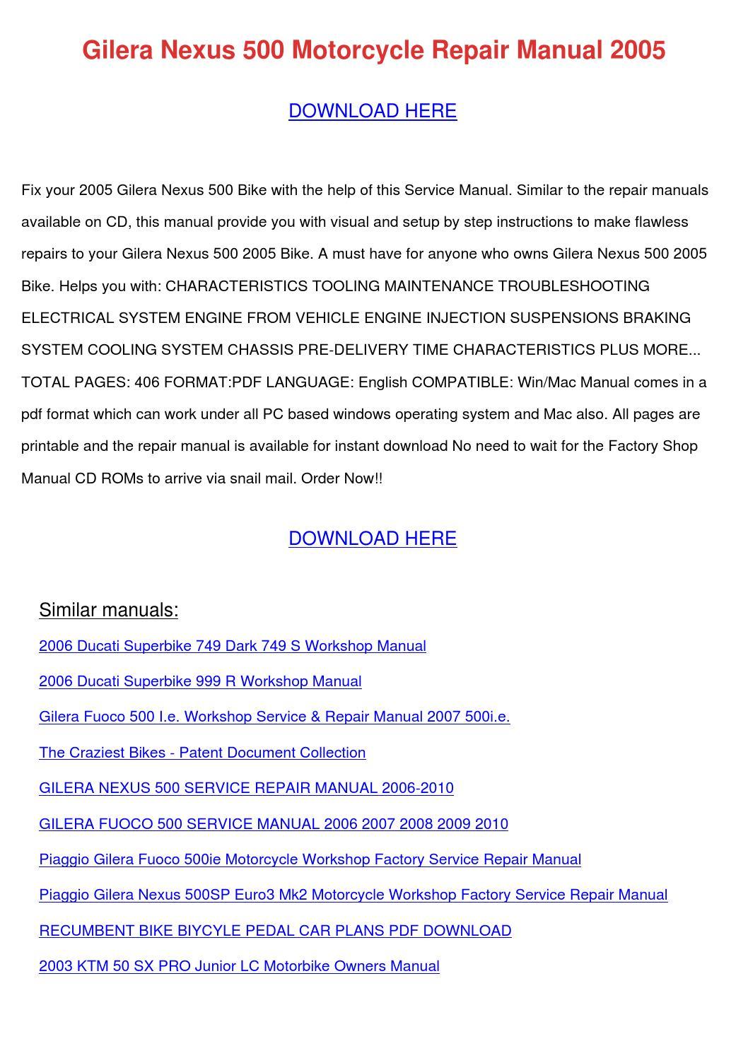 Gilera Nexus 500 Motorcycle Repair Manual 200 by SeymourSaldivar ...