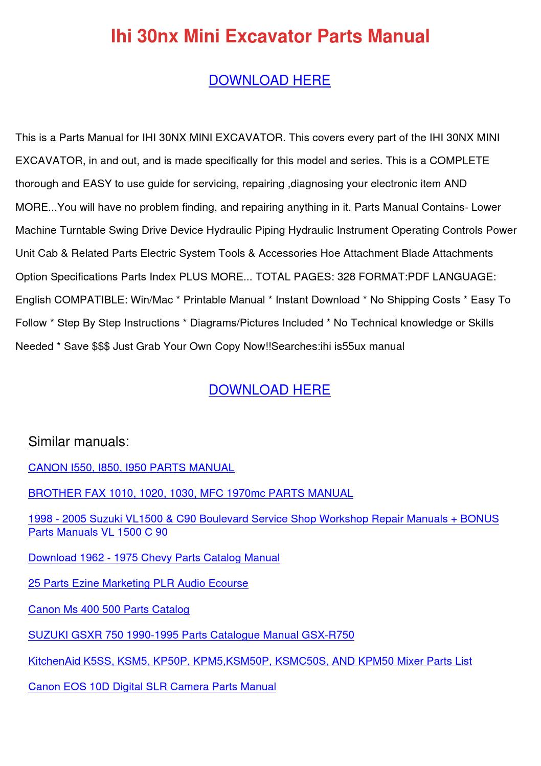 Ihi 30nx Mini Excavator Parts Manual by KlausJean - issuu