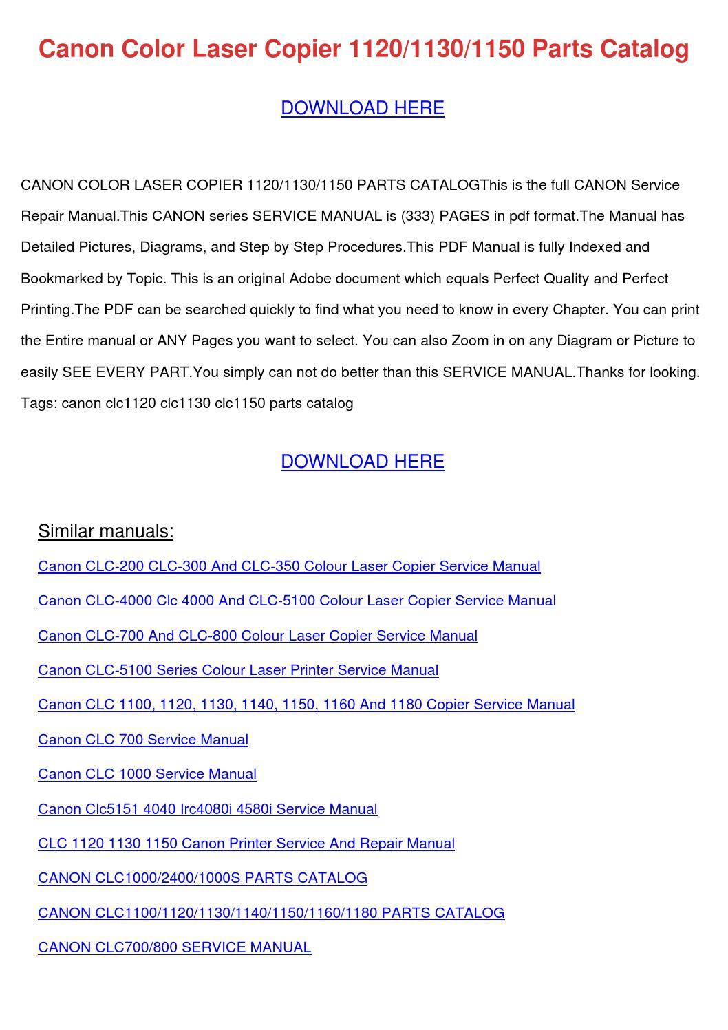 Canon Color Laser Copier 112011301150 Parts C By Carabisson