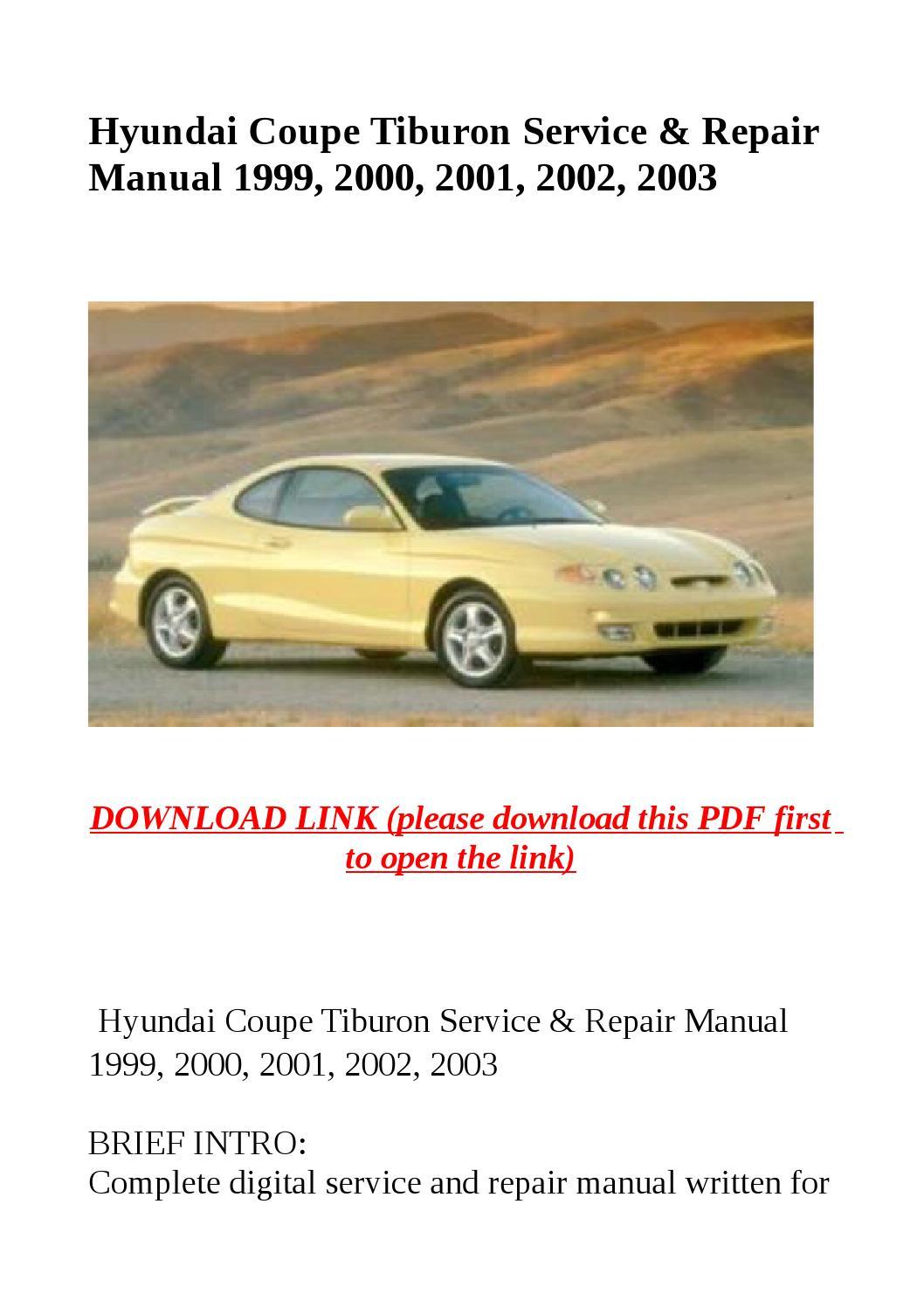 2001 hyundai tiburon repair manual