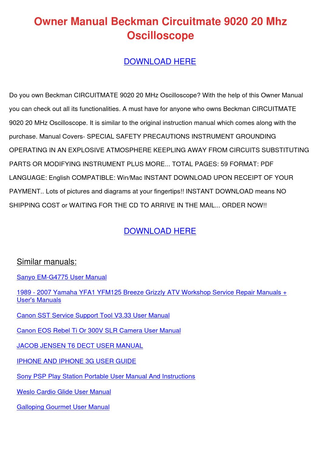 Owner Manual Beckman Circuitmate 9020 20 Mhz by EvelynDow - issuu