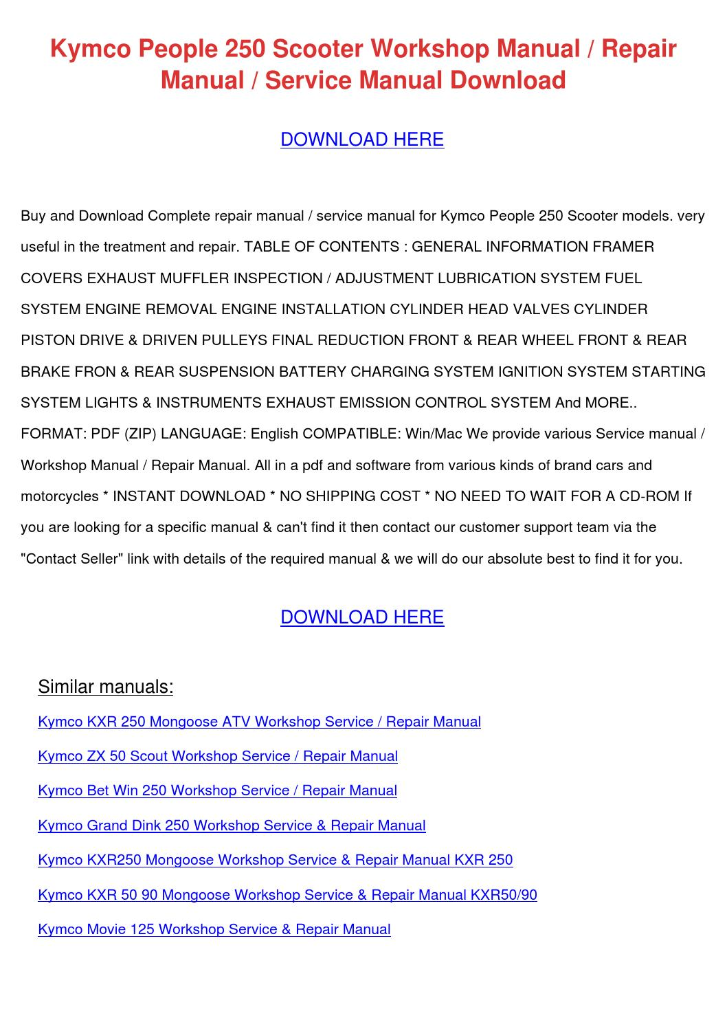 kymco people s parts manual catalog download 2006 onwards