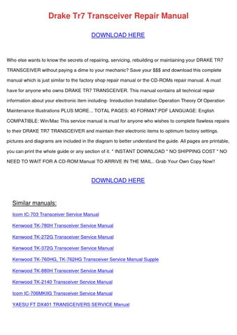 Drake Tr7 Transceiver Repair Manual by CeliaWray - issuu