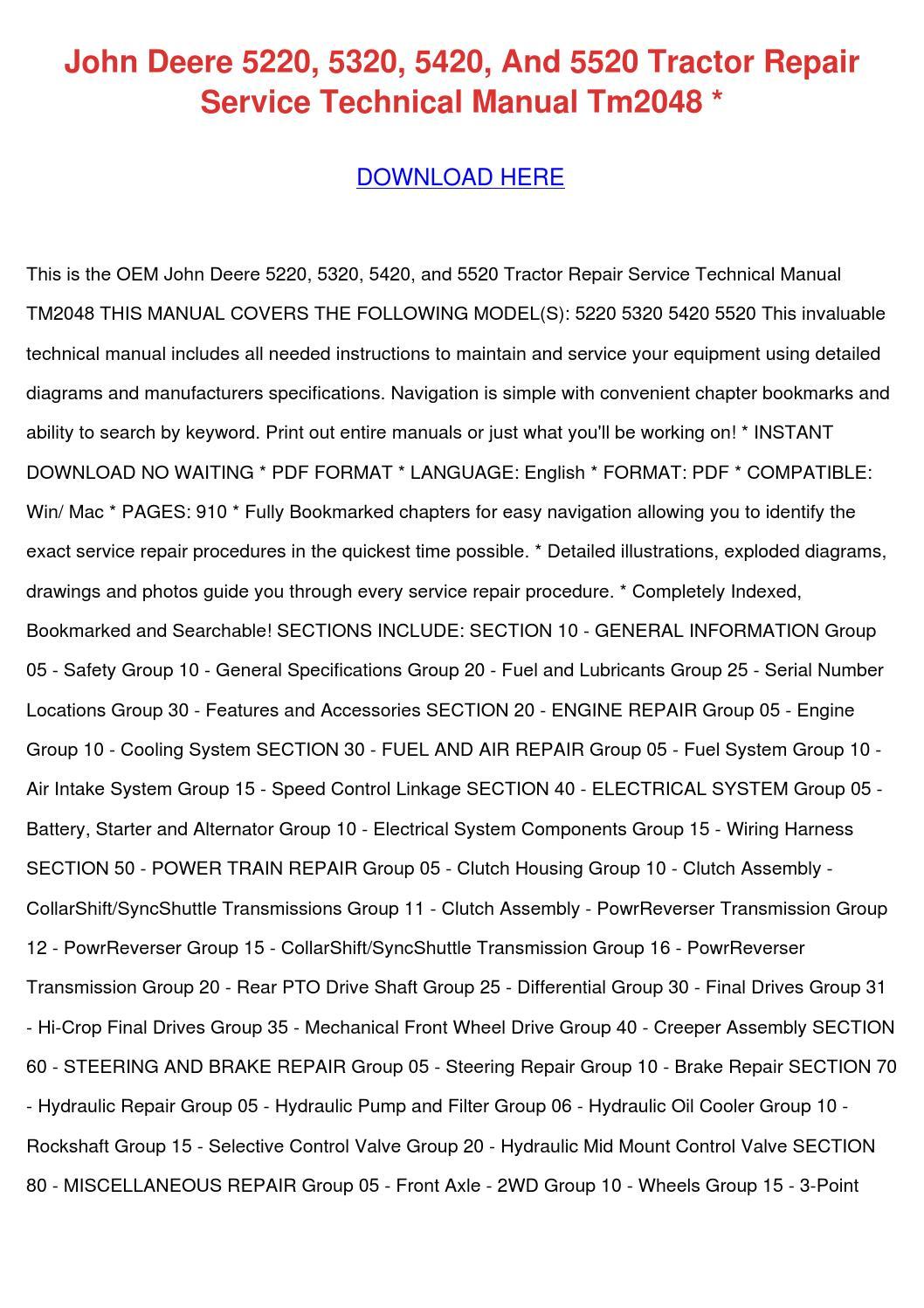 John Deere 5220 5320 5420 And 5520 Tractor Re by TerriSpurlock issuu – John Deere 5220 Wiring Diagrams