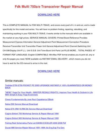Fdk Multi 750ae Transceiver Repair Manual by RodneyRaymond - issuu