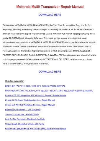 Motorola Mc80 Transceiver Repair Manual by RodneyRaymond - issuu