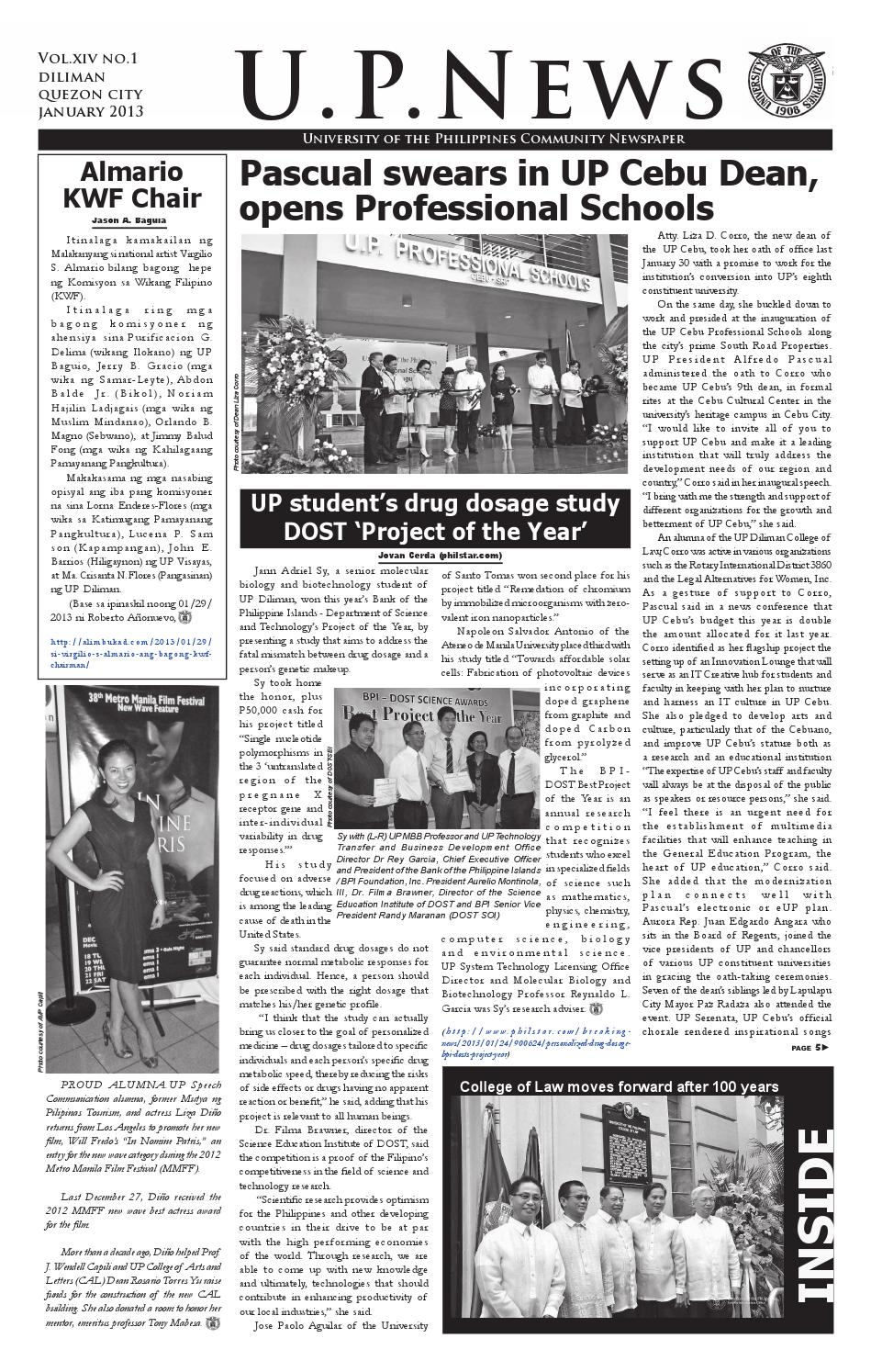 UP News January 2013 by University of the Philippines - issuu