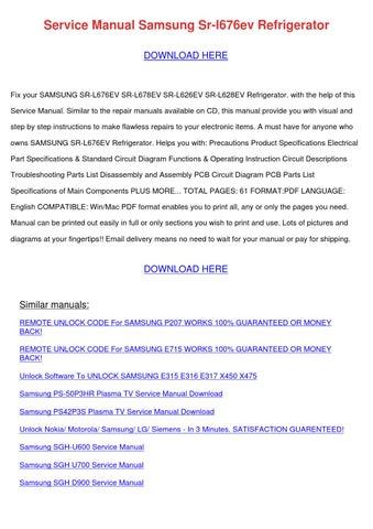 Service Manual Samsung Sr L676ev Refrigerator by RodneyRaymond - issuu
