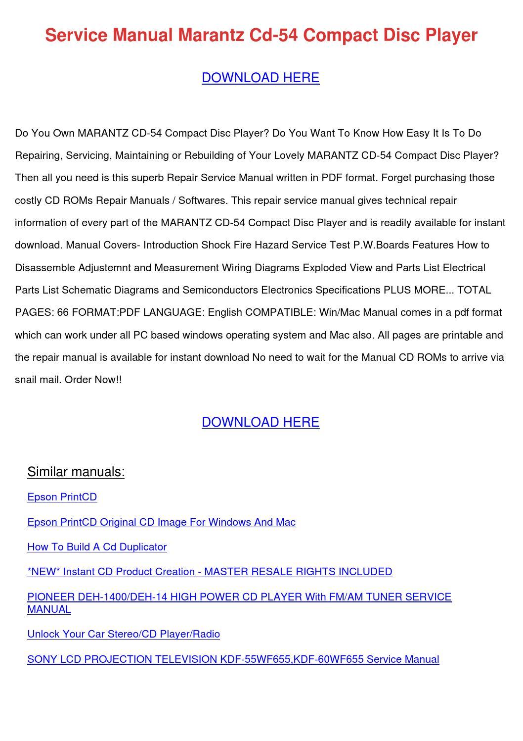 Service Manual Marantz Cd 54 Compact Disc Pla by RodneyRaymond - issuu