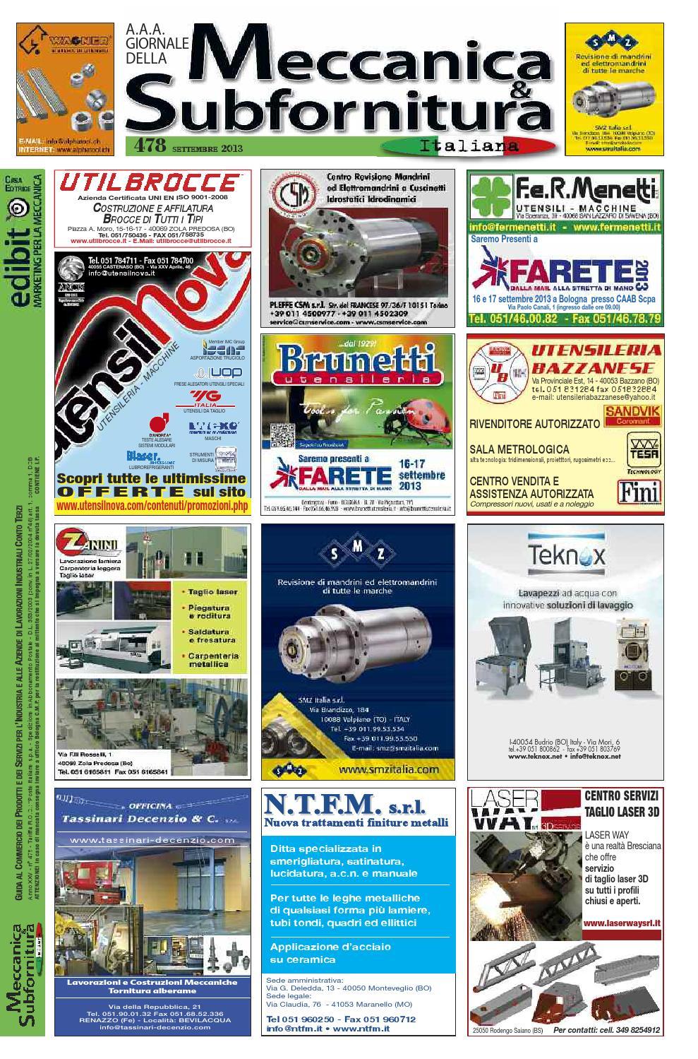Meccanica Subfornitura 478 Settembre 2013 By Edibit