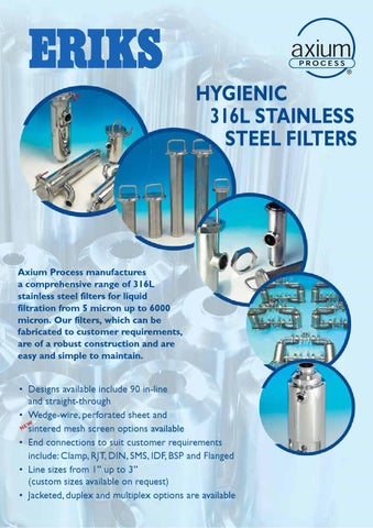 Eriks Hygienic 316l Stainless Steel Filters Axium Process