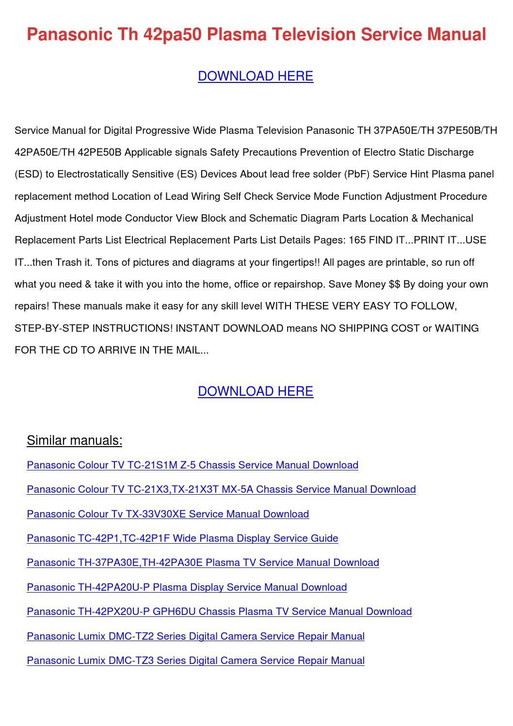 Panasonic Th 42pa50 Plasma Television Service by AlfredoWilkinson ...