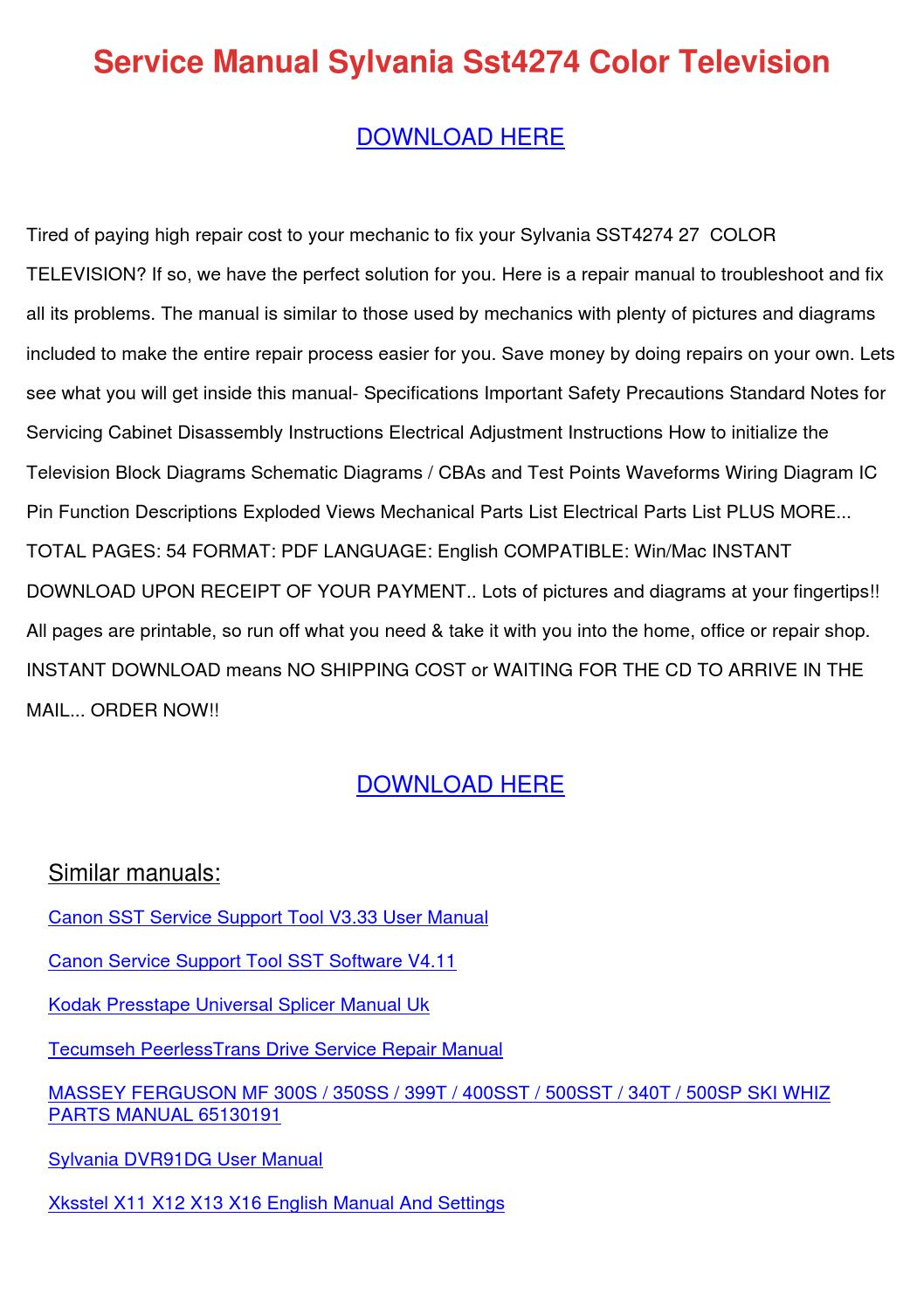 Service Manual Sylvania Sst4274 Color