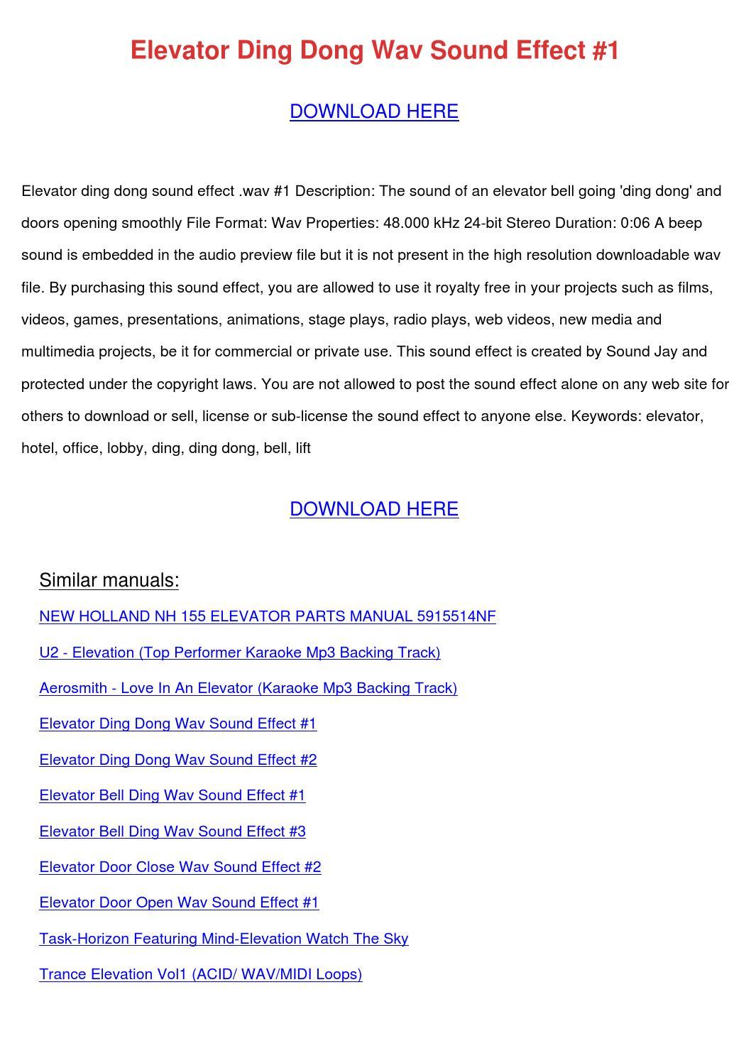 Elevator Ding Dong Wav Sound Effect 1