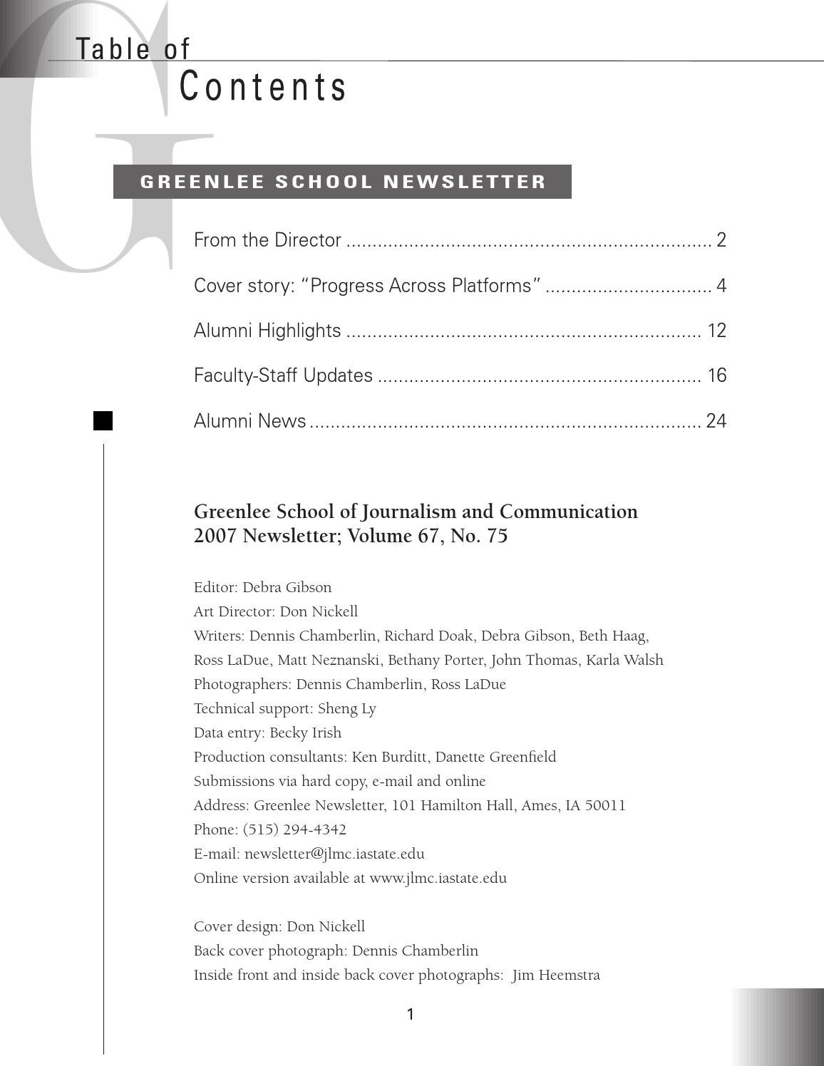 2007 Greenlee Newsletter by Greenlee School of Journalism and ...