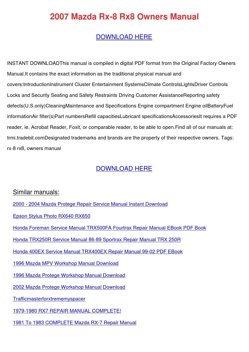 2007 Mazda Rx 8 Rx8 Owners Manual by NikoleNunley - issuu