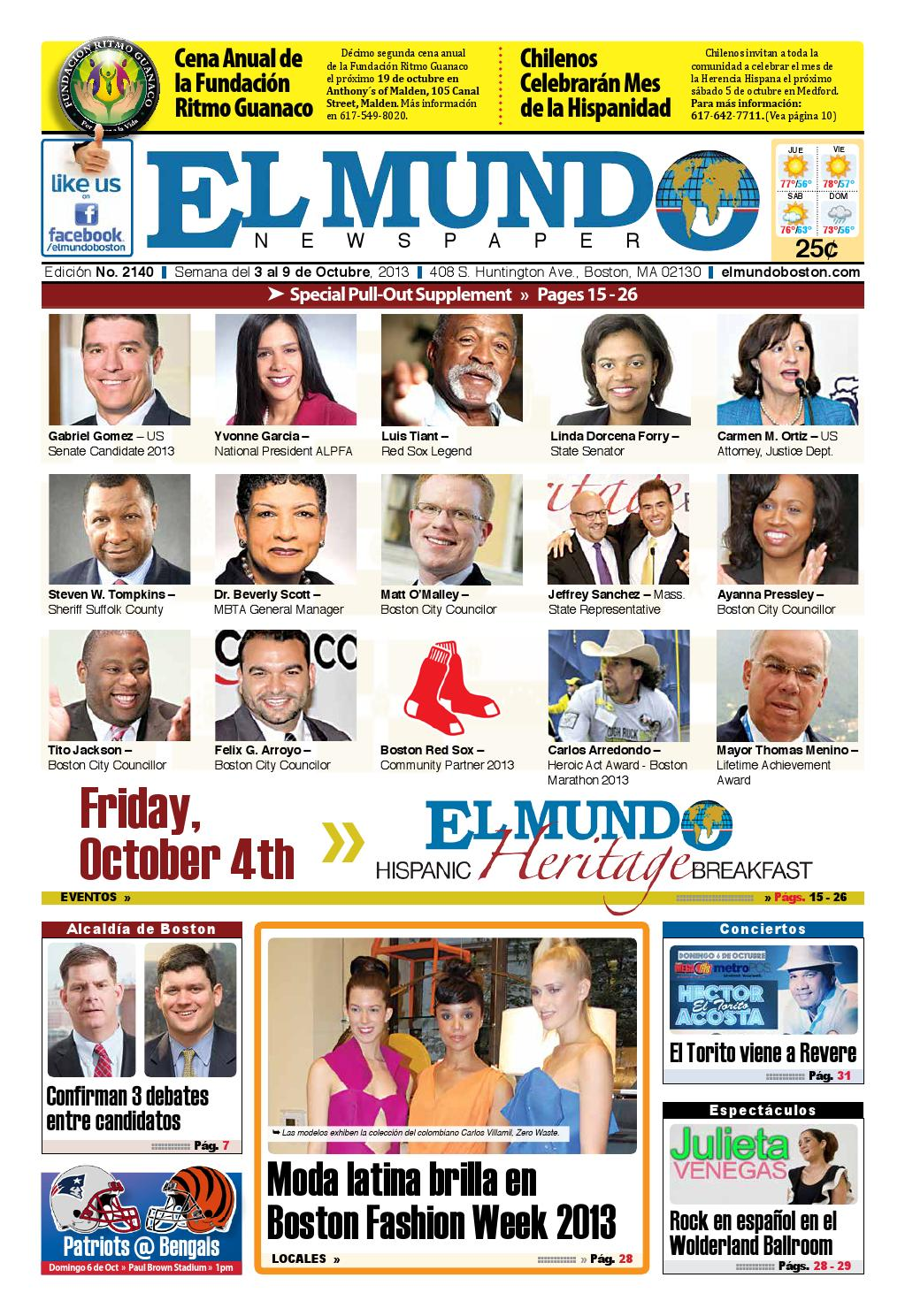 El Mundo Newspaper | No. 2140 | 10/03/13 by El Mundo Boston ...