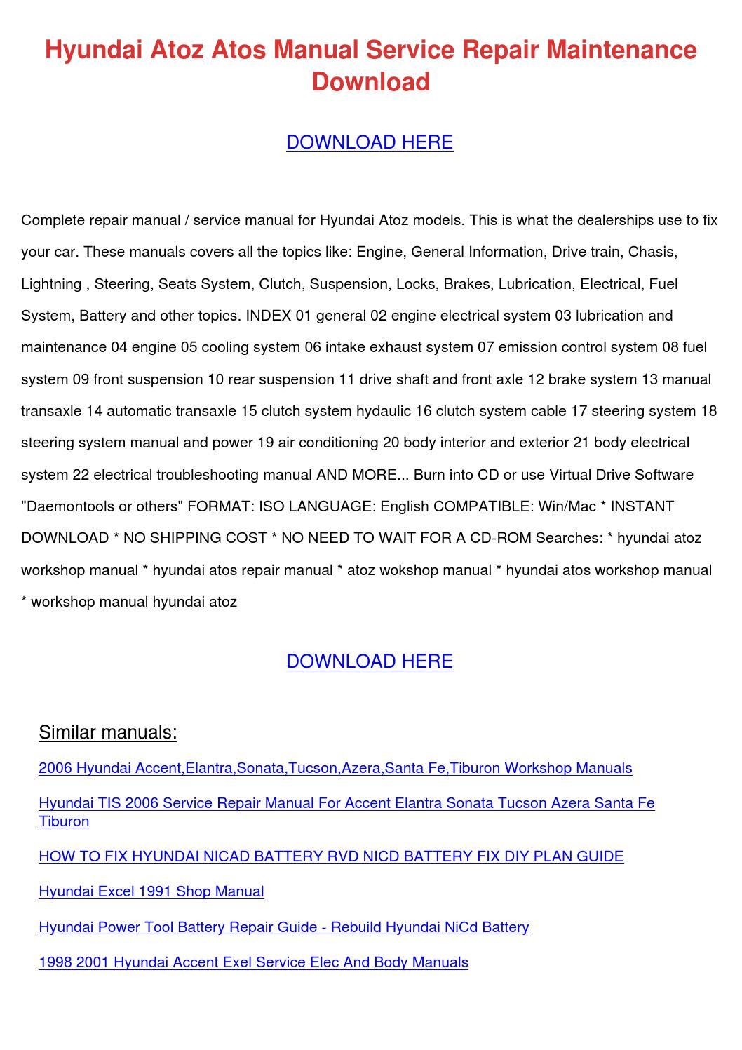 hyundai atoz atos manual service repair maint by frankearly issuu rh issuu com Hyundai Sonata Manual Transmission 2001 hyundai sonata repair manual