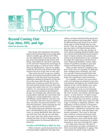 Focusv21n10 beyond coming out gay men, hiv, and age by
