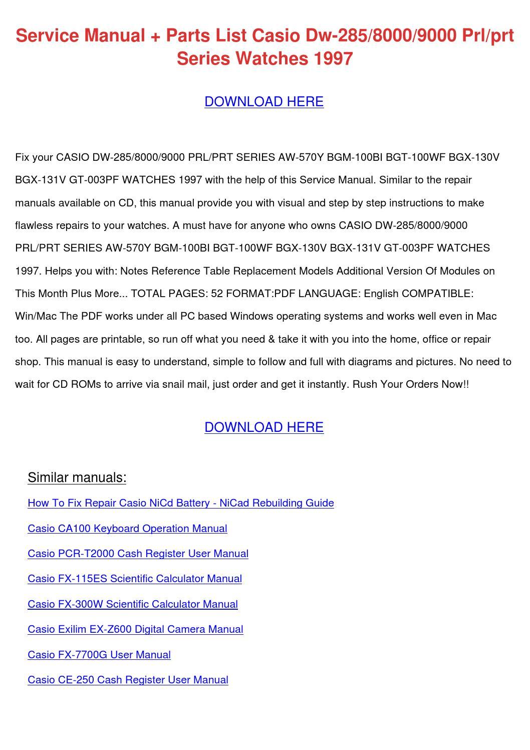 Service Manual Parts List Casio Dw 2858000900 By Seanroach border=