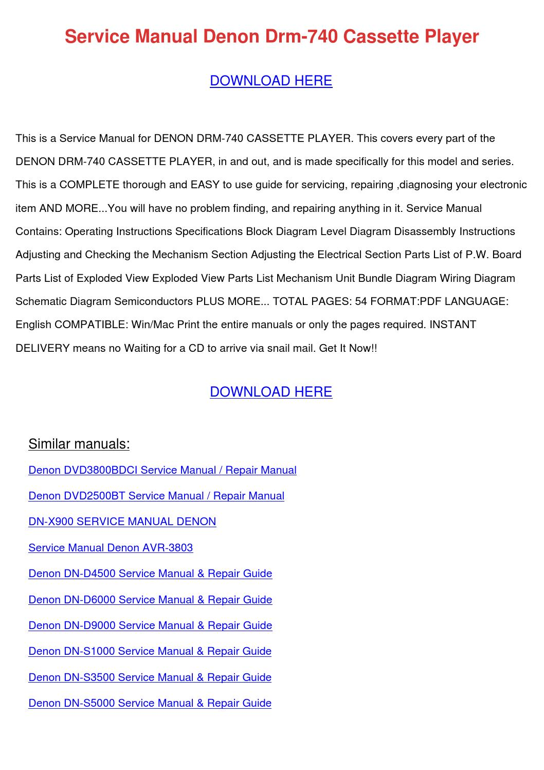 Service Manual Denon Drm 740 Cassette Player by SeanRoach - issuu