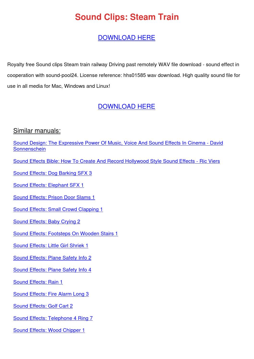 Sound Clips Steam Train by SeanRoach - issuu