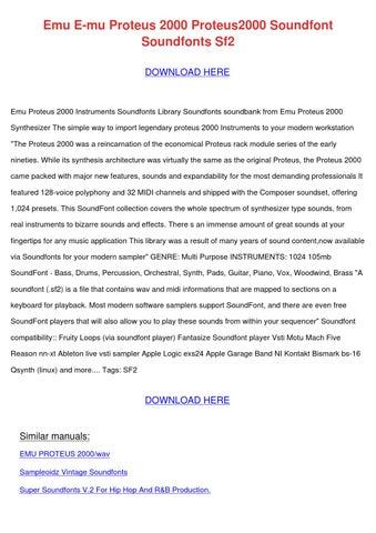 Emu E Mu Proteus 2000 Proteus2000 Soundfont S by MelindaMcnair - issuu