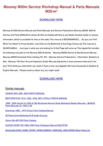 Mooney M20m Service Workshop Manual Parts Man By