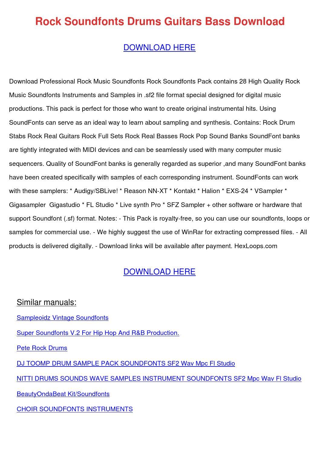 Rock Soundfonts Drums Guitars Bass Download by PedroNeuman