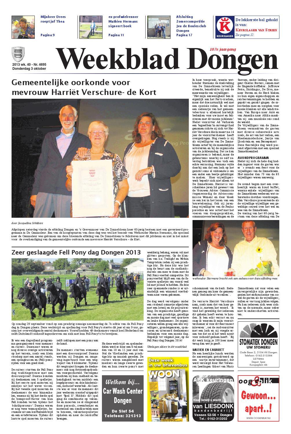Weekblad Dongen 03-10-2013 by Uitgeverij Em de Jong - issuu
