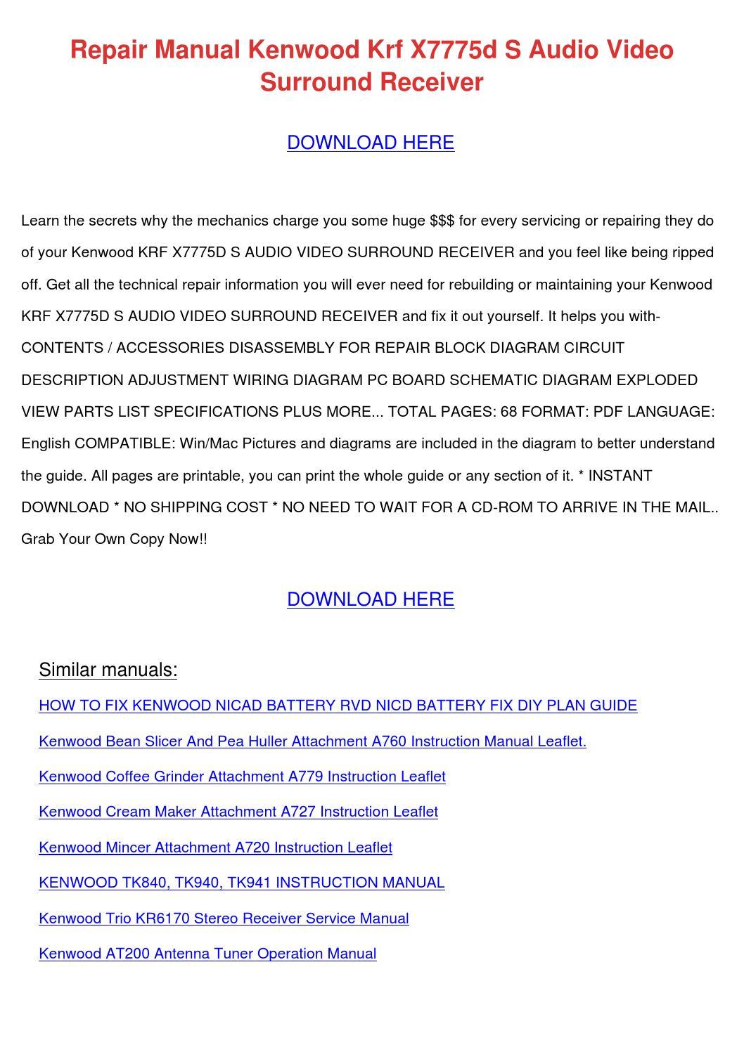 Repair Manual Kenwood Krf X7775d S Audio Vide by RafaelMontgomery ...