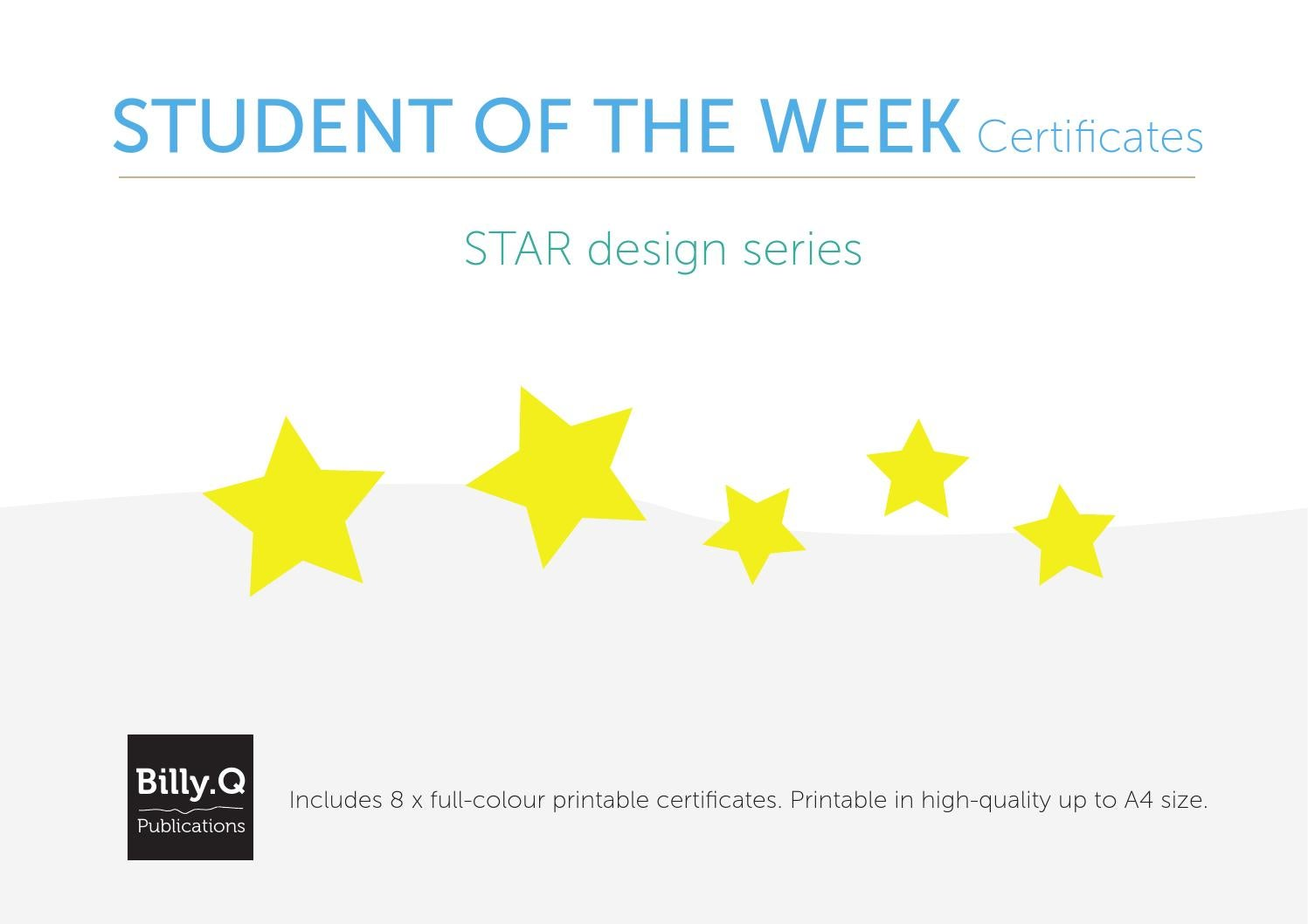 Student Of The Week Printable Certificates Star Series By Teacher