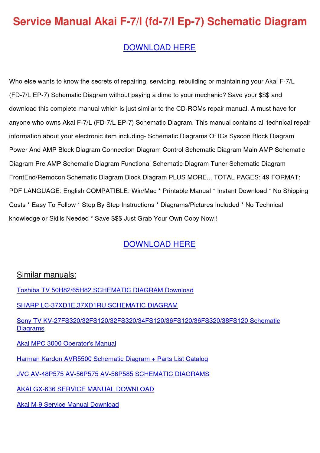 Service Manual Akai F 7l Fd 7l Ep 7 Schematic by ReginaPrater - issuu