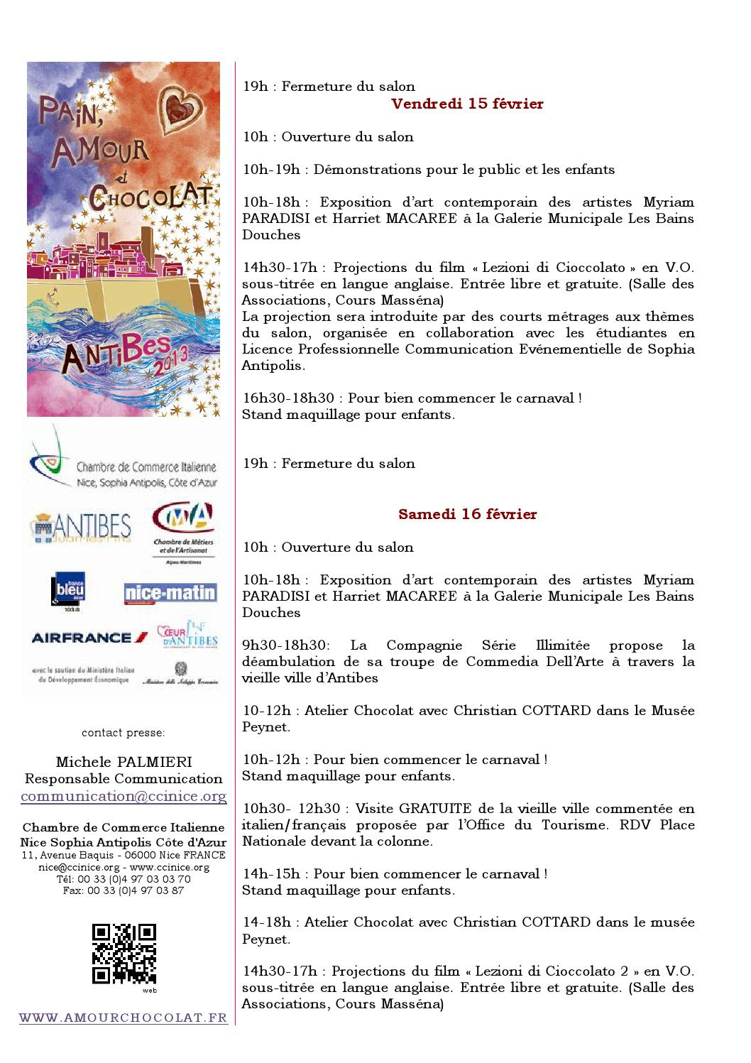 Resoconto della 7 edizione di pain amour et chocolat for Chambre de commerce italienne nice