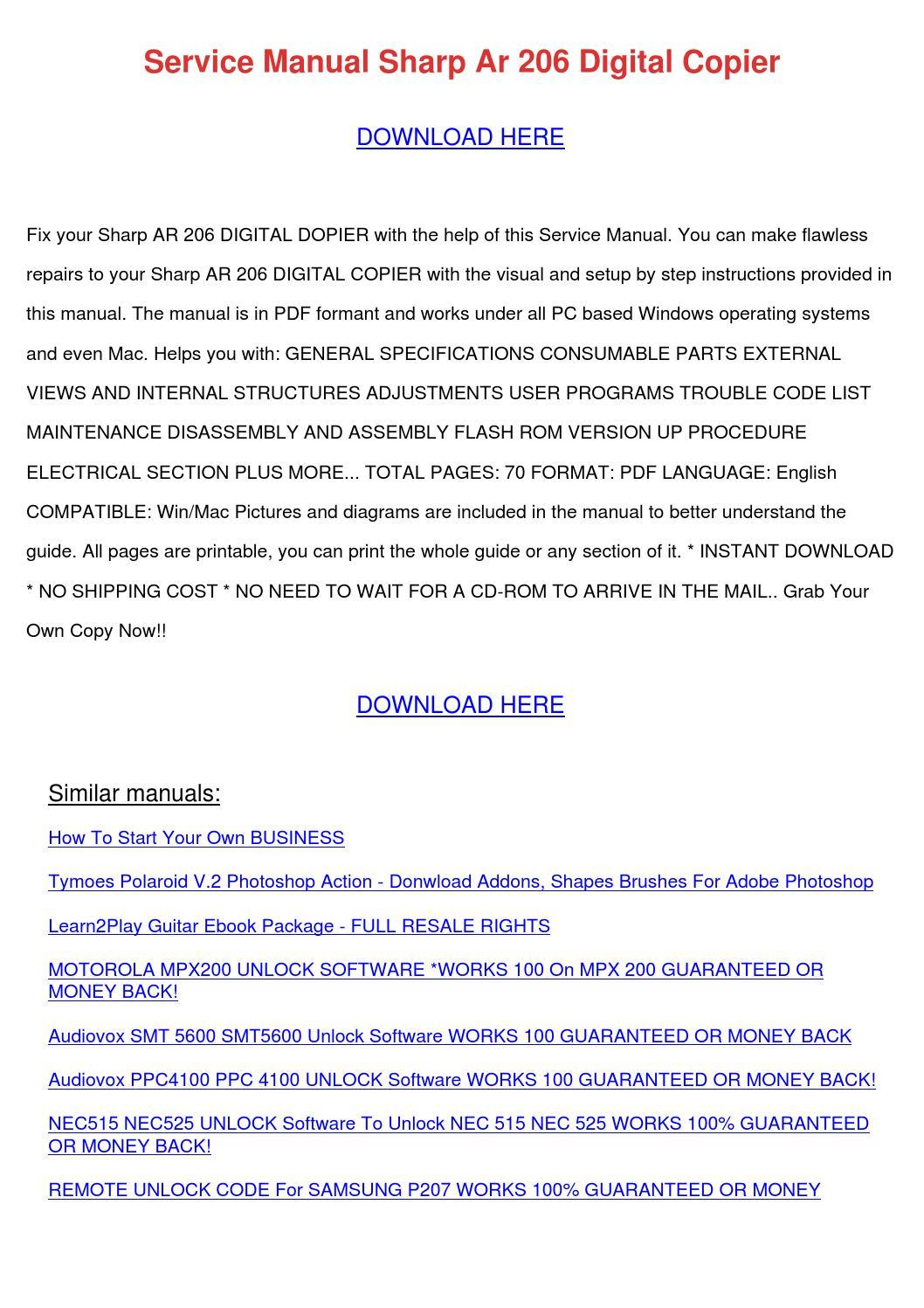 ... Array - service manual sharp ar 206 digital copier by reginaprater  issuu rh issuu ...