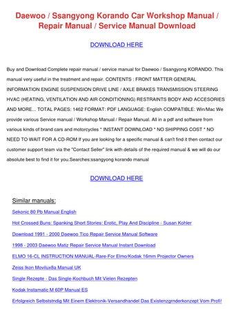 daewoo ssangyong korando car workshop manual by reginaprater issuu rh issuu com  Daewoo Lanos Sport