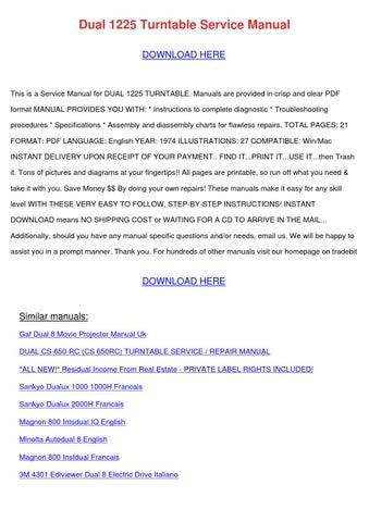Dual 1225 Turntable Service Manual by WinonaVenegas - issuu