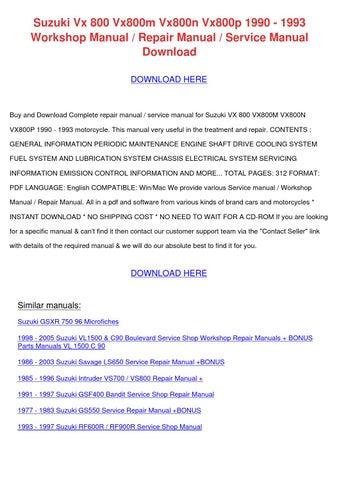 Suzuki vx 800 vx800m vx800n vx800p 1990 1993 by kristiekimball issuu suzuki vx 800 vx800m vx800n vx800p 1990 1993 workshop manual repair manual service manual download download here fandeluxe Image collections