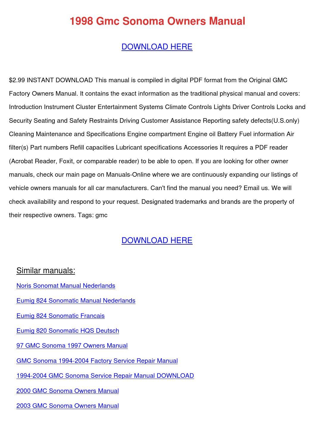 1997 gmc jimmy repair manual pd