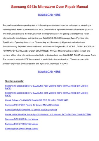 Samsung G643c Microwave Oven Repair Manual by RamiroPost - issuu