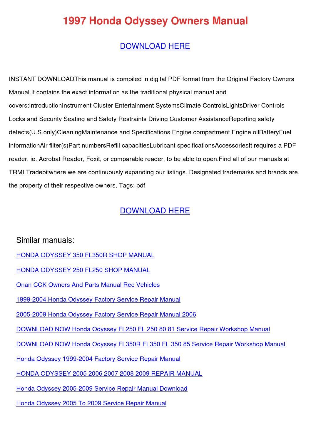 1997 honda odyssey owners manual by izettagainey issuu Honda Odyssey RB1