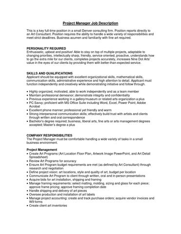 Project Manager job description by Grant Adams - issuu