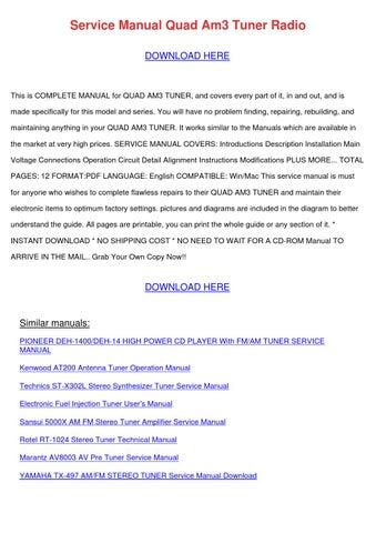 Service Manual Quad Am3 Tuner Radio by KristoferKeeney - issuu