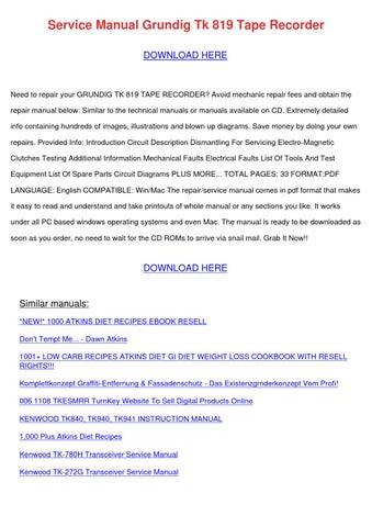 Service Manual Grundig Tk 819 Tape Recorder by KristoferKeeney - issuu