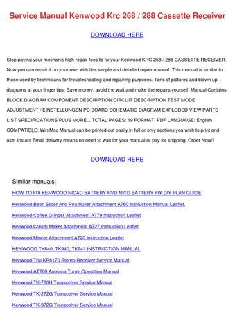 Service Manual Kenwood Krc 268 288 Cassette R by BelenBarela - issuu