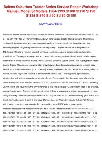 Bolens Suburban Tractor Series Service Repair by AbbieWarfield - issuu