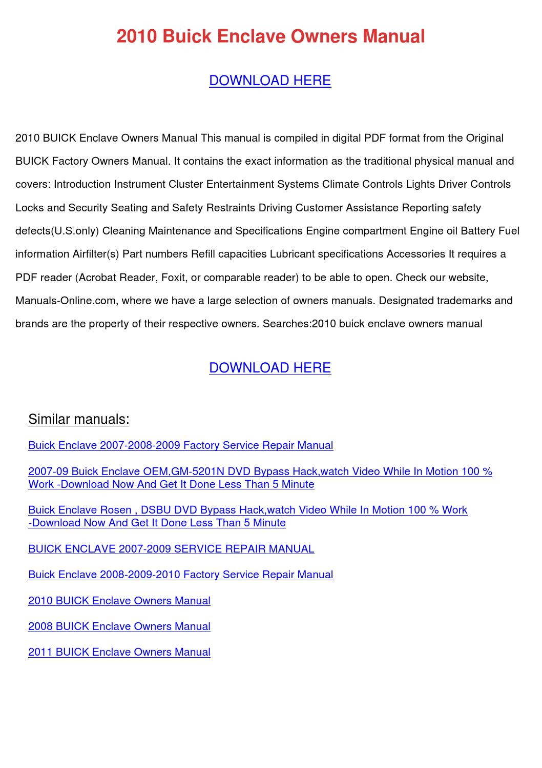 2010 Buick Enclave Owners Manual by HilarioGamez - issuu