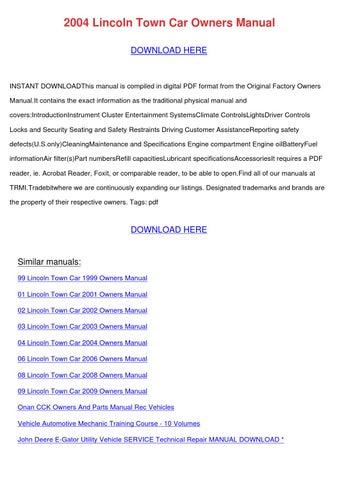 2006 lincoln town car service manual