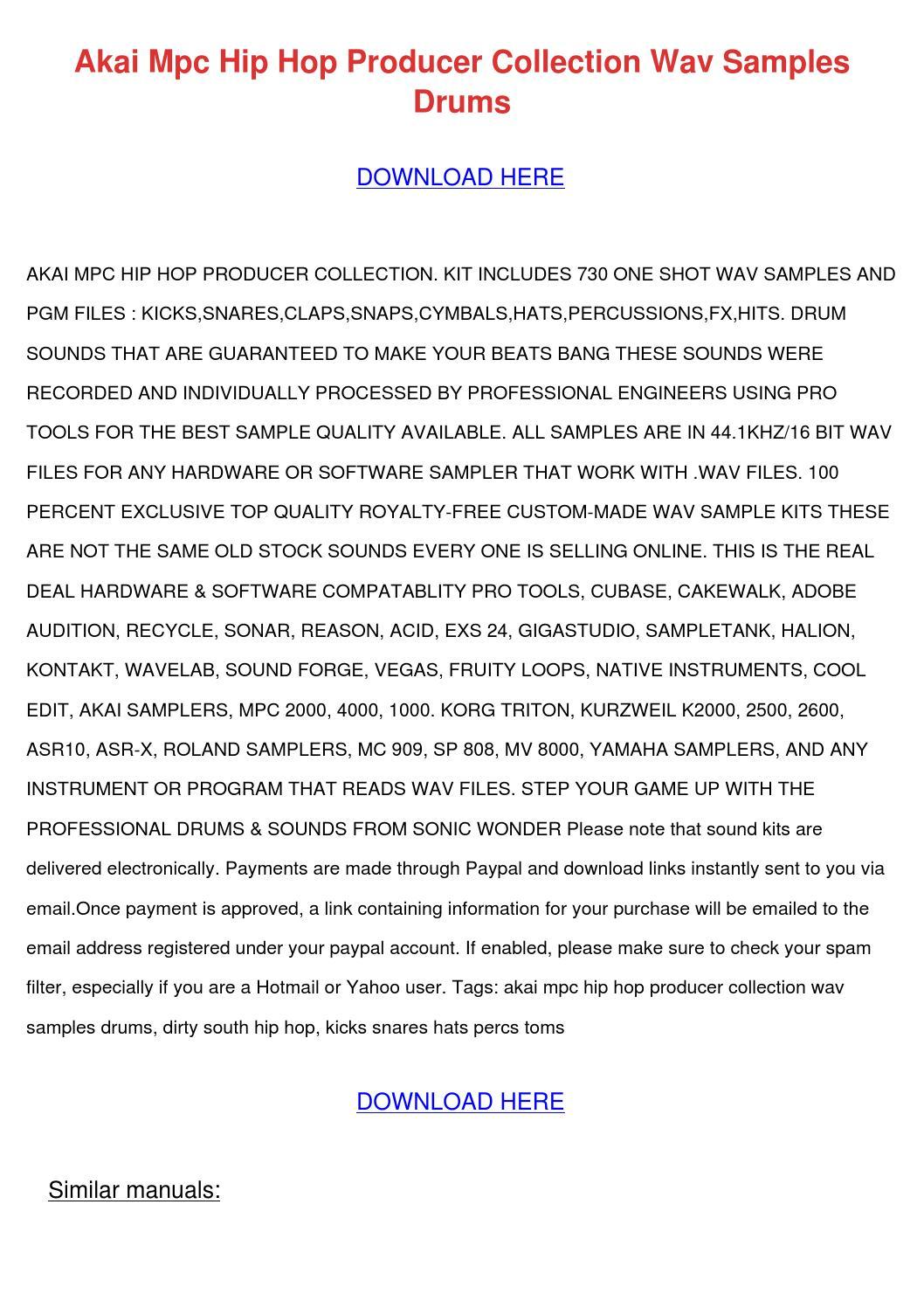 Akai Mpc Hip Hop Producer Collection Wav Samp by
