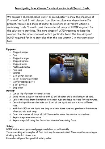 vitamin c dcpip peppers This method has been used for commercial synthesis of vitamin-c vitamin-c occurs naturally  350 chili peppers, sweet peppers  vitamin-c analysis page 4.
